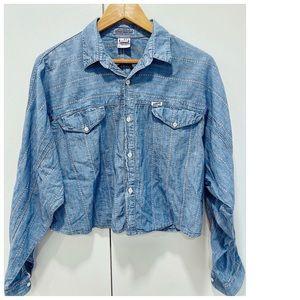 80s Guess Chambray Cropped Denim Shirt